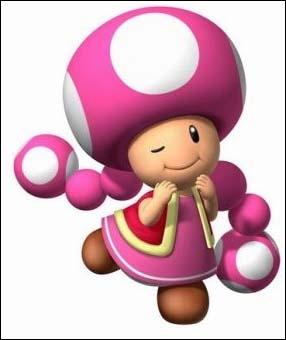 Voici l'amie de Toad, elle serait apparue dans Mario Kart WII. Mais quel est son nom ?