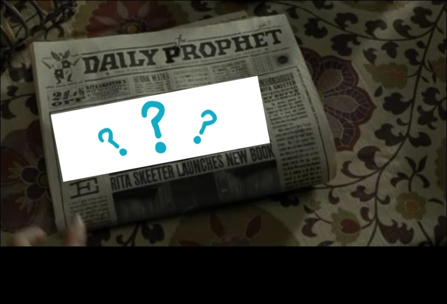 Lorsque Harry se trouve chez les Weasley (avant le mariage), Harry trouve un journal ayant pour titre principal :