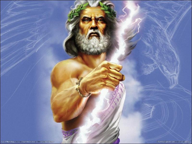 Il est souvent représenté avec un éclair, il est le dieu du ciel. Qui est-ce ?
