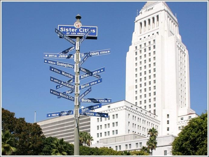 Laquelle de ces villes n'est pas jumelée à Los Angeles ?