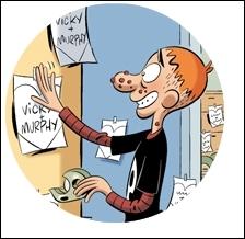Pour quelle raison Murphy accroche-t-il des affiches sur tous les murs où est écrit :  Vicky + Murphy = coeur  ? (Tome 3)