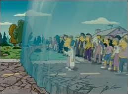 Grâce à une moto, Homer parvient à canaliser l'explosion au sommet du dôme. La déflagration provoque sa destruction . Quelle est la seule victime de l'opération ?