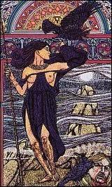 Cette déesse celtique prenait la forme d'un corbeau ou d'une corneille, annonçant les guerres et se repaissait des cadavres après les batailles :