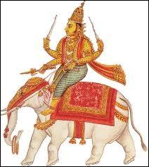 Connu également comme le dieu du tonnerre et de la pluie, ce dieu aryen de l'Inde mena son puissant  vajra  (foudre) contre les démons qui s'opposaient au processus de création de la vie :