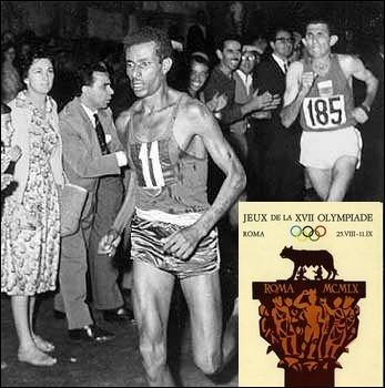 Quelle était la particularité de l'athlète éthiopien Abebe Bikila, vainqueur du marathon des jeux olympiques de Rome en 1960 ?