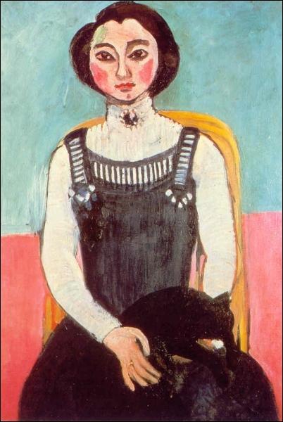 Quel peintre est l'auteur de la toile  Marguerite au chat noir  ?