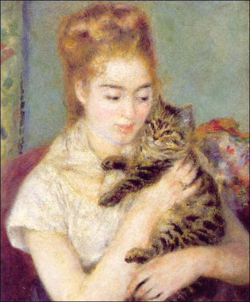 Quel peintre est l'auteur de la toile  Jeune fille au chat  ?