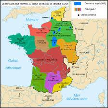Le royaume était composé d'une mosaïque de provinces indépendantes (les Comtés et les Duchés) souvent plus étendues que le domaine royal. De plus, les seigneurs de la haute aristocratie qui dirigeaient ces fiefs étaient souvent plus riches et plus puissants que le roi. A quelle partie de l'ancien Empire de Charlemagne, le royaume des Francs correspond-il territorialement ?
