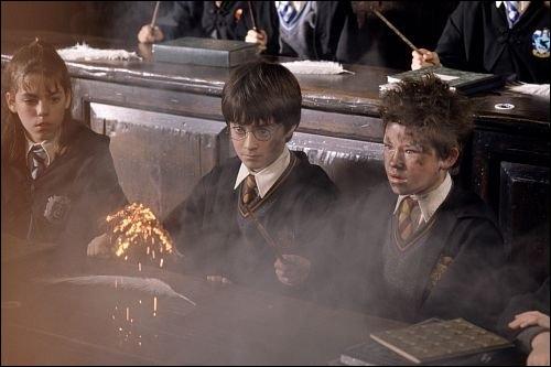 Dans HP1, dans le premier cours d'enchantement, quand Seamus Finnigan fait exploser sa plume, que dit alors Harry qui est à côté ?