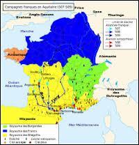 Par quelle bataille en 507, Clovis s'empare-t-il du royaume des Wisigoths (en jaune sur la carte) ?