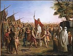 En 481, comme le veut la coutume franque, Clovis est reconnu comme roi des Francs en se faisant élever symboliquement sur un grand bouclier par ses soldats. Quel est le nom de ce bouclier ?