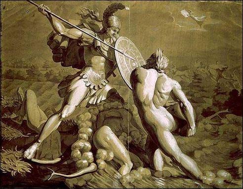 Dans  L'Éthiopide , l'une des épopées perdues du cycle troyen, la rencontre entre Penthésilée et Achille est racontée. À quel moment Achille tombe-t-il amoureux de Penthésilée ?