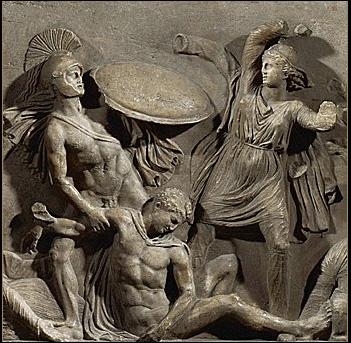 Les représentations artistiques illustrent les Amazones avec diverses armes. Quelle est l'intruse ?
