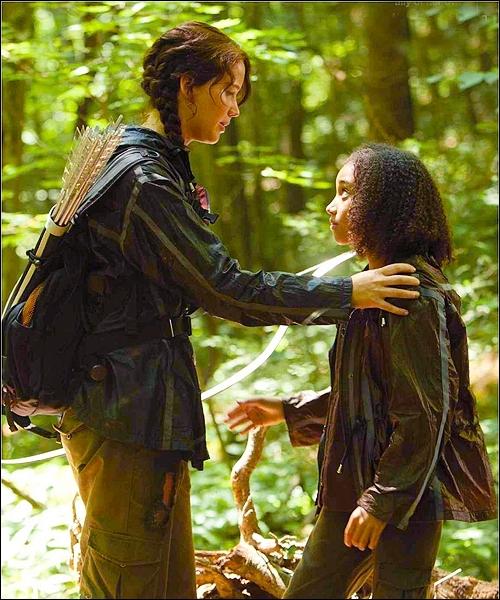 Quel est le signe que fait Katniss en hommage à Rue ?