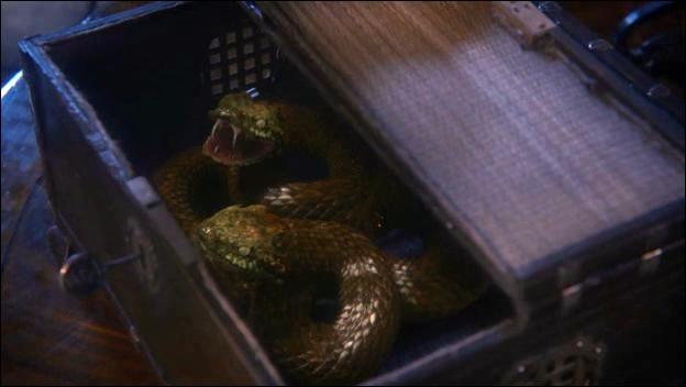 D'où viennent les serpents utilisés pour tuer le père de Blanche-Neige ?