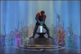 Le jour du grand tournoi est arrivé. Quel est le nom du chevalier légendaire qui n'arrive pas à déloger l'épée de son enclume ?