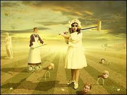 Et ici quelle pochette est à l'origine de cette reconstitution, où l'on voyait une femme jouer au croquet avec des têtes humaines, dans un esprit enfantin ?