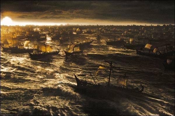 Quel élément naturel va détruire la première vague des Perses ?