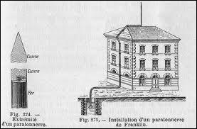 De quoi se compose le paratonnerre, inventé par Benjamin Franklin ?