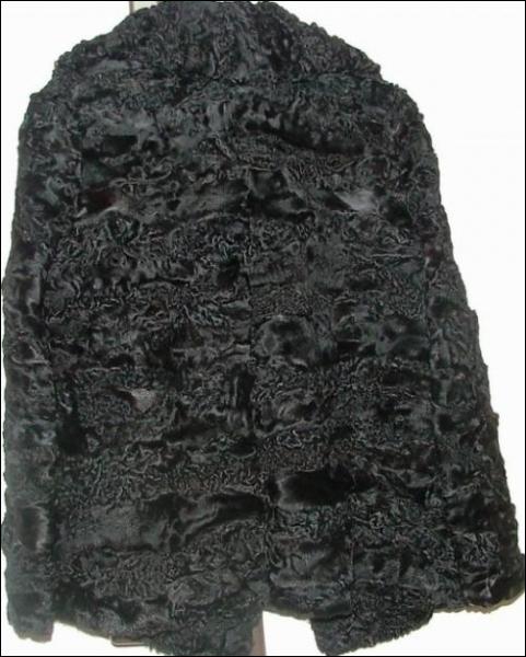 Ce manteau est fait avec une fourrure bouclée de jeune agneau karakul mort-né ... c'est de l' ... .