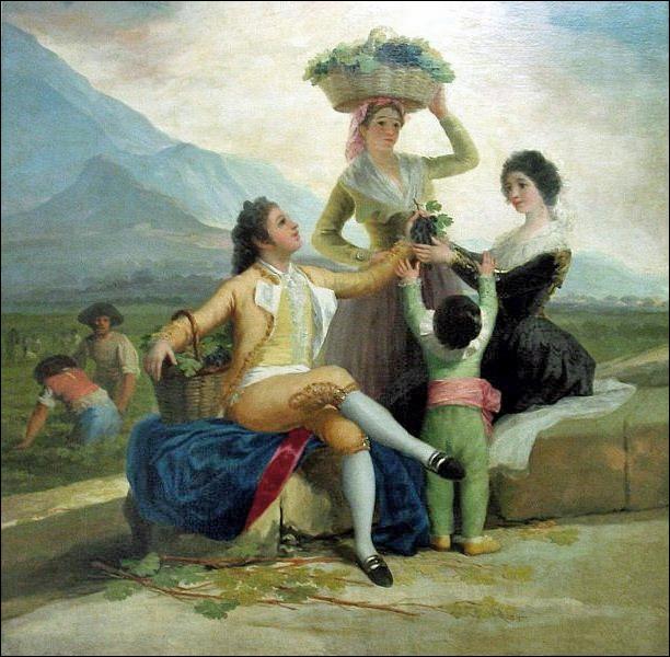Vendanger ne semble pas pénible pour cet illustre artiste espagnol. Qui a peint la scène charmante s'offrant à nos yeux ?