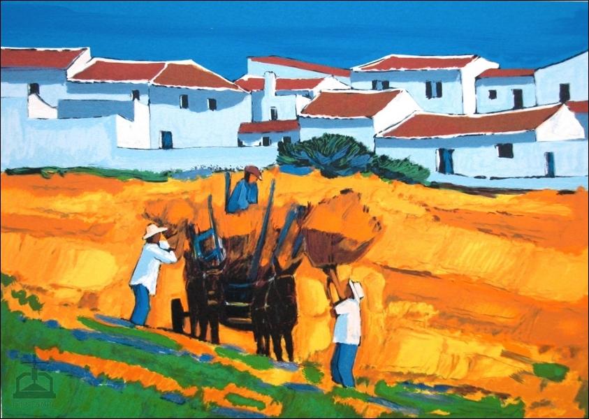 Observez bien les couleurs lumineuses, l'azur du ciel, la blancheur éclatante des maisons sous le soleil accablant. Dans quelle région européenne ces agriculteurs lèvent-ils la gerbe ?
