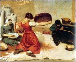 Cette peinture de G. Courbet nous présente le travail séparant les grains des impuretés avant leur transformation en farine. Que tient le personnage central entre ses mains ?