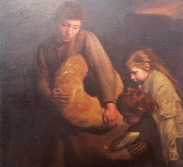Après tous les efforts de fenaisons et moissons, il paraît normal que chacun se restaure d'un bon pain fait à l'ancienne. Quel artiste connu pour l'art du camouflage militaire peignit ce tableau ?