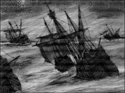 Semble un noir bateau qui (... ) et lève un noir (... ).