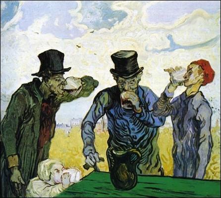 Qui est l'auteur de cette peinture Post-impressionniste intitulée   les buveurs , Saint-Rémy   et datée de 1890 ?