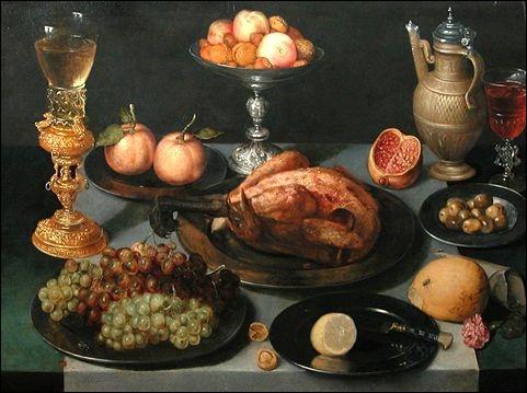 Tableau de l'artiste Pieter Binoit présentant une mise de table des plus alléchantes.