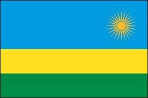 Drapeau du  Pays aux mille collines , situé en Afrique de l'est. Sa capitale est Kigali.