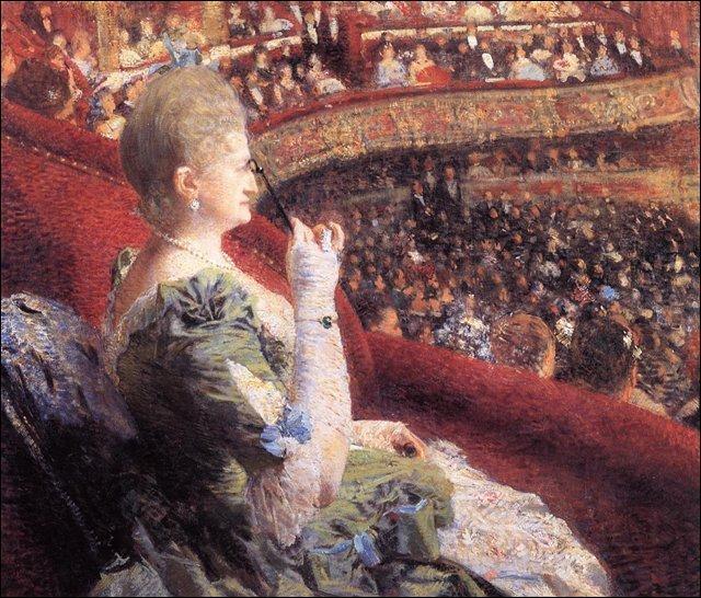 Madame Edmond Picard dans sa loge au Théâtre de la Monnaie, 1886