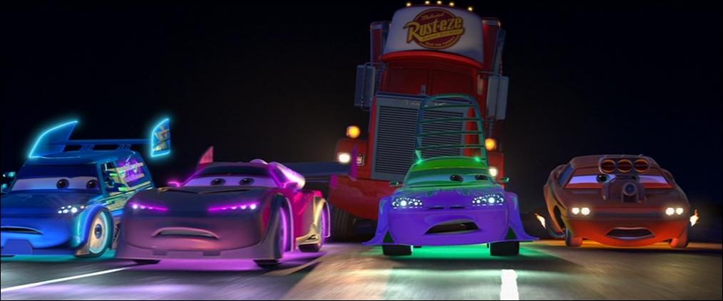 Spoiler, la voiture verte et violette est une ...