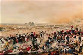 Napoléon souhaite marcher au plus vite sur Le Caire, afin de surprendre le commandement égyptien qui n'a pas eu le temps de préparer sa défense. Comment est appelée la grande victoire contre les Mamelouks près de Gizeh (21 juillet 1798) ?