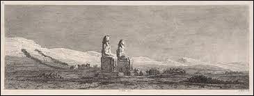 """Le grand dessinateur Vivant-Denon qui a accompagné l'armée napoléonienne en Haute-Egypte, a réalisé de remarquables gravures sur les monument égyptiens. Dans son ouvrage """"Voyage en Basse et Haute-Egypte"""", on peut voir ces 2 célèbres statues aux dimensions colossales. Comment sont-elles appelées ?"""