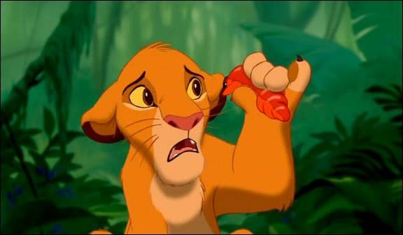 Que dit Simba après avoir mangé une larve ?