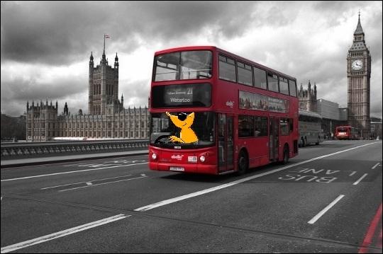 Après avoir assisté aux 30ème Jeux Olympiques, la petite bête orange poursuit son voyage au volant d'un bus à impériale et effectue la visite historique de :