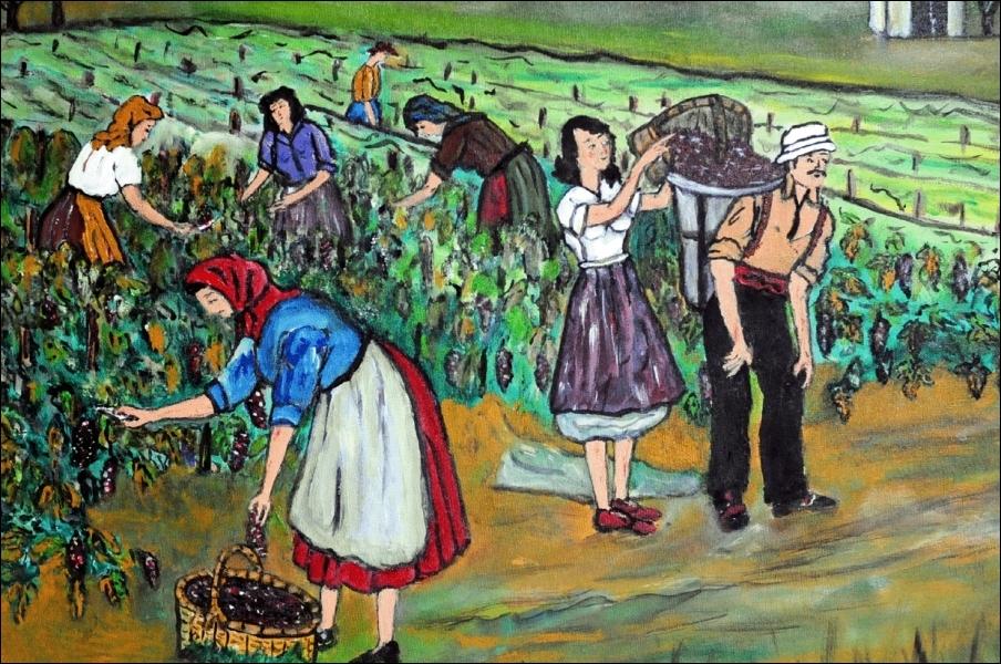 De la vigne au (... ) les transporte à pas lents ;