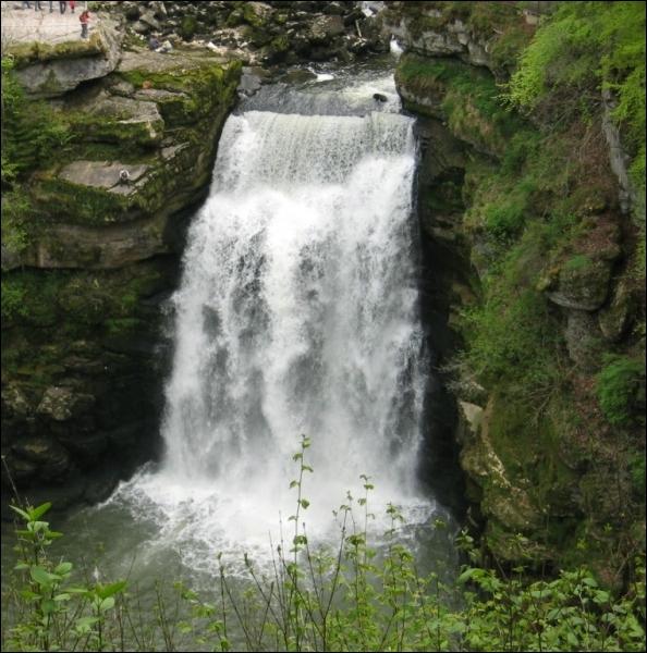 Cette région est également celle des eaux vives. Elles dévalent parfois en cascades échevelées, comme ici près de la frontière suisse. Quelle est cette vertigineuse cascade de 27 m de hauteur ?