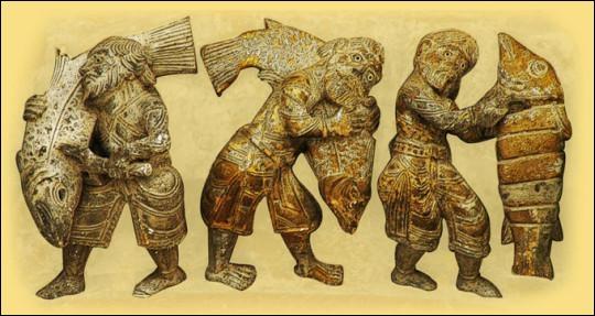 L'importance du saumon est telle au Moyen Âge que la représentation de pêcheurs figure sur une suite de métiers au tympan de la porte de la cathédrale ... ... d'Oloron :