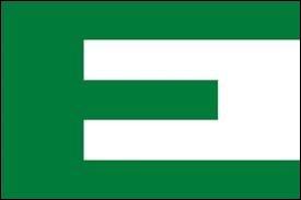 Le drapeau ci-contre avec un E vert sur fond blanc était une ébauche d'un drapeau fort connu. Lequel ?
