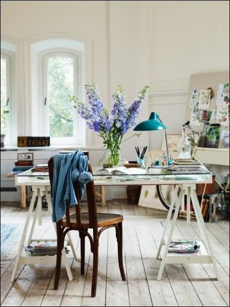 Sur ce bureau, ces superbes fleurs bleues en grappe, à la couleur puissante et lumineuse, sont des... ?