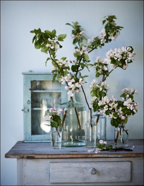 Une idée à retenir au printemps, car dans ces vases tout simples, ce sont des branches de... ?