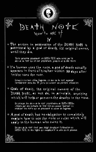 Pourquoi les règles du Death Note sont-elles écrites en anglais ?
