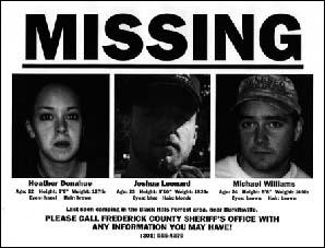Quel film d'horreur relate la disparition de 3 jeunes suite à un documentaire tourné dans les bois ?