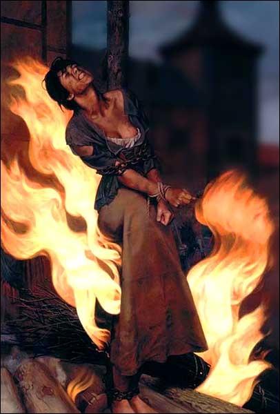 Puisque l'on parle de bûcher, quel personnage de série a failli mourir brûlé vif, accusé de sorcellerie ?