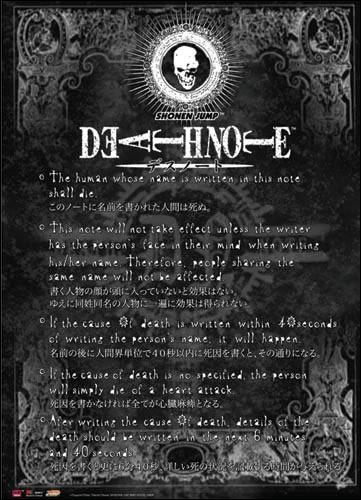"""Le propriétaire du """"Death Note"""" doit respecter toutes les règles écrites par un Shinigami."""