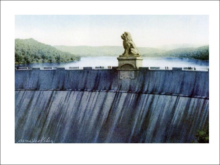 Cette photo présente le seul barrage belge décoré d'une statue de lion. C'est le ...