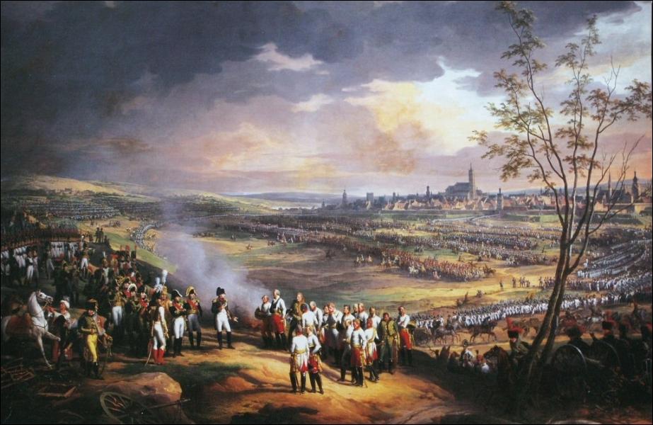 Cette oeuvre de Charles Thévenin immortalise une grande victoire de Napoléon Ier, conduite avec génie entre le 15 et le 20 octobre 1805. Comment s'appelle cette bataille ?